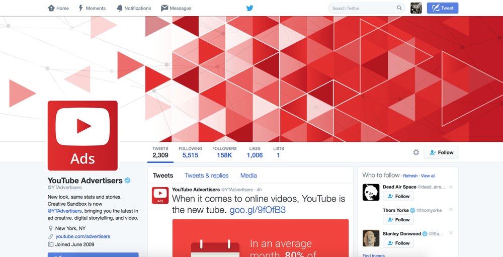 I created a custom banner incorporating the YouTube play button for the YouTube Advertisers Twitter channel.