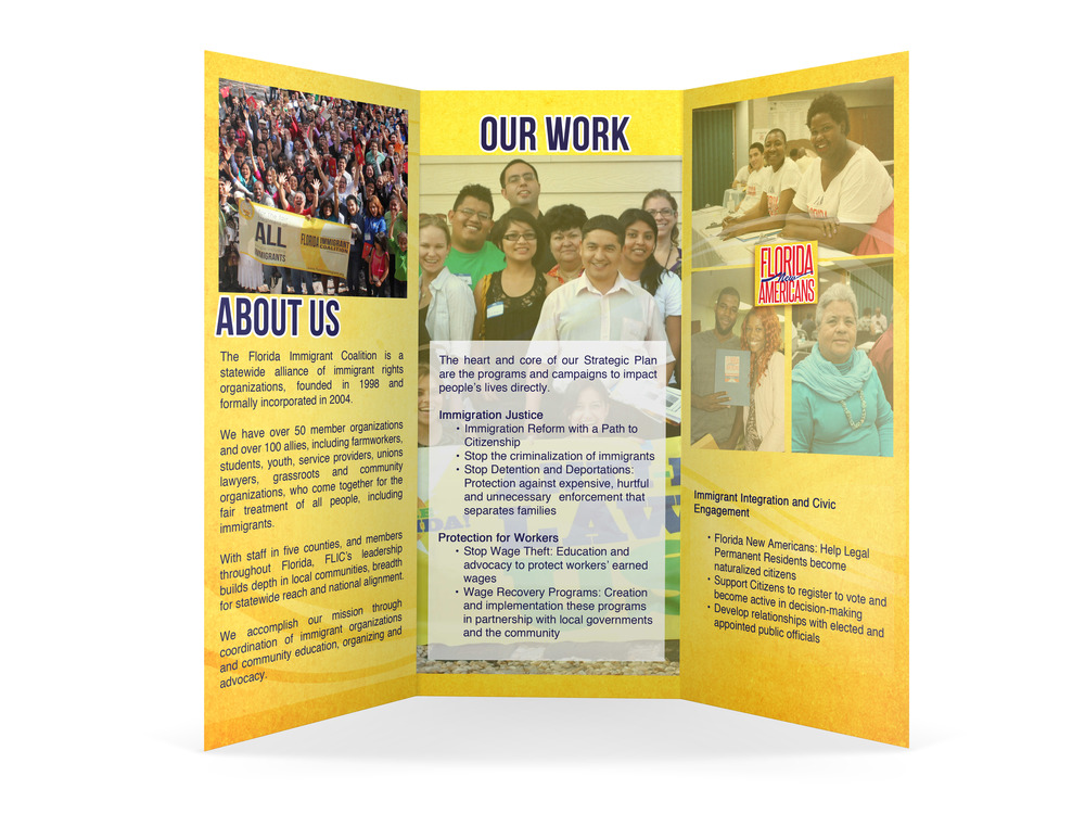 Client: Florida Immigrant Coalition  Type: Organizational Brochure