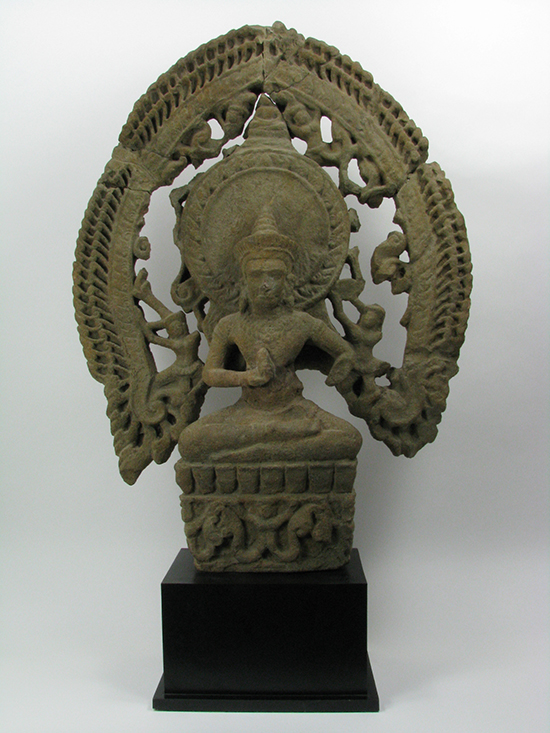 A Khmer Sandstone Sculpture of Buddha, c.12th Century, Angkor Period, Cambodia, 95x70cm $8,000