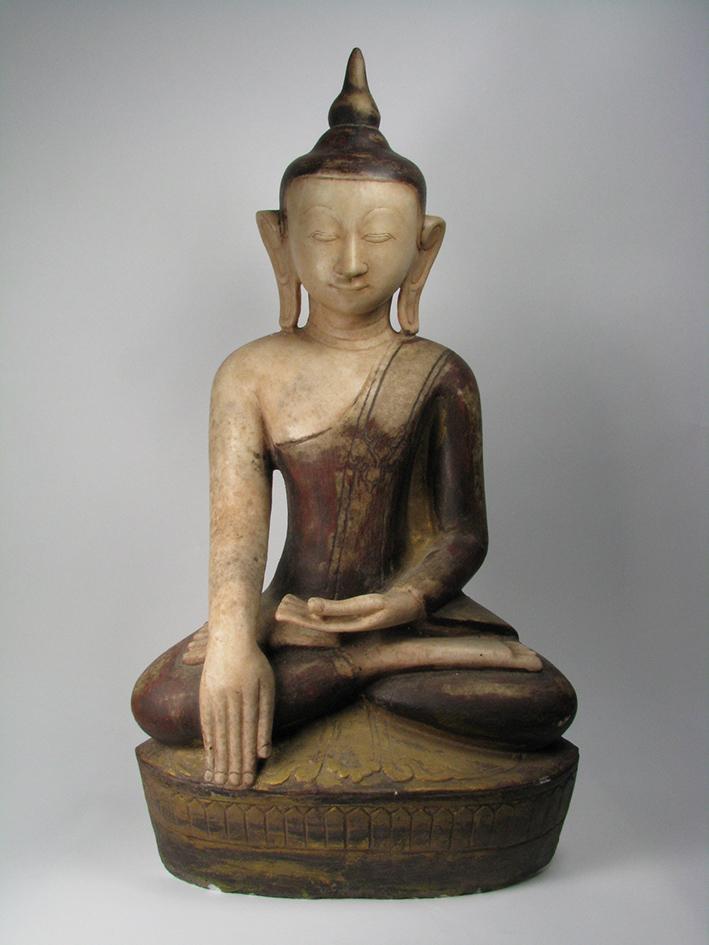A Burmese Shan Period Alabaster Buddha,   c.18-19th Century, 81x42cm $2,000