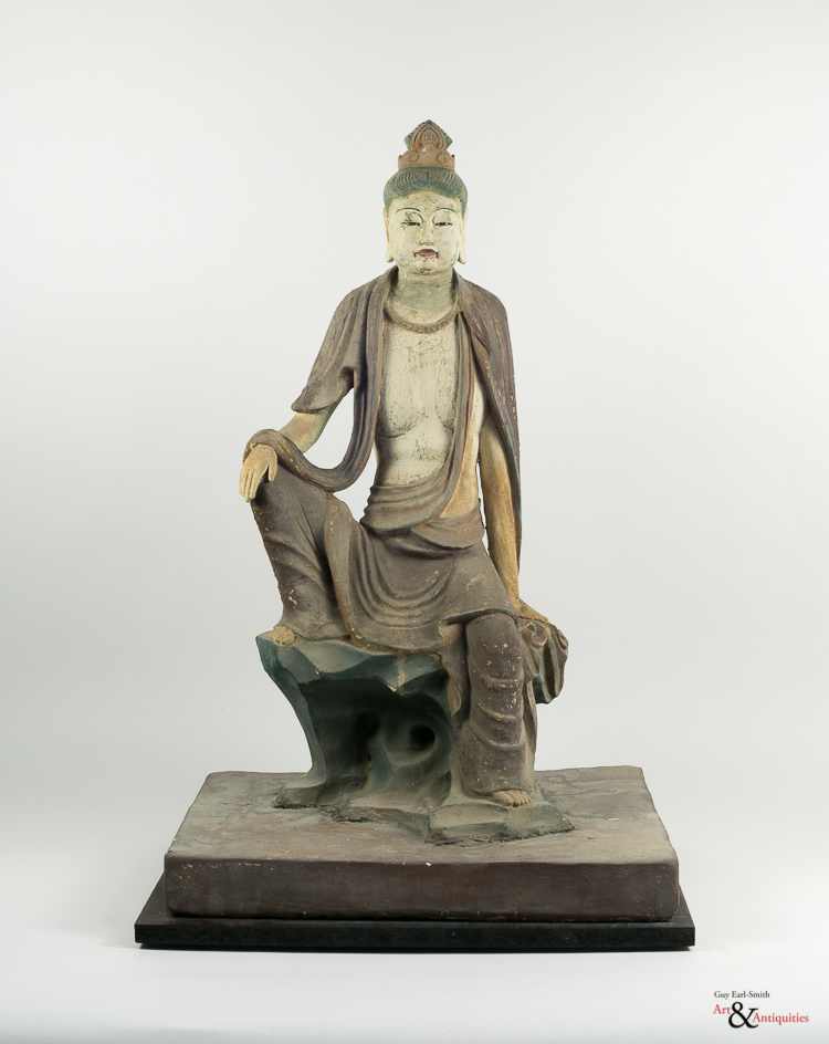 A Painted Clay Ming Dynasty Sculpture Of Guanyin, c. 1368-1644