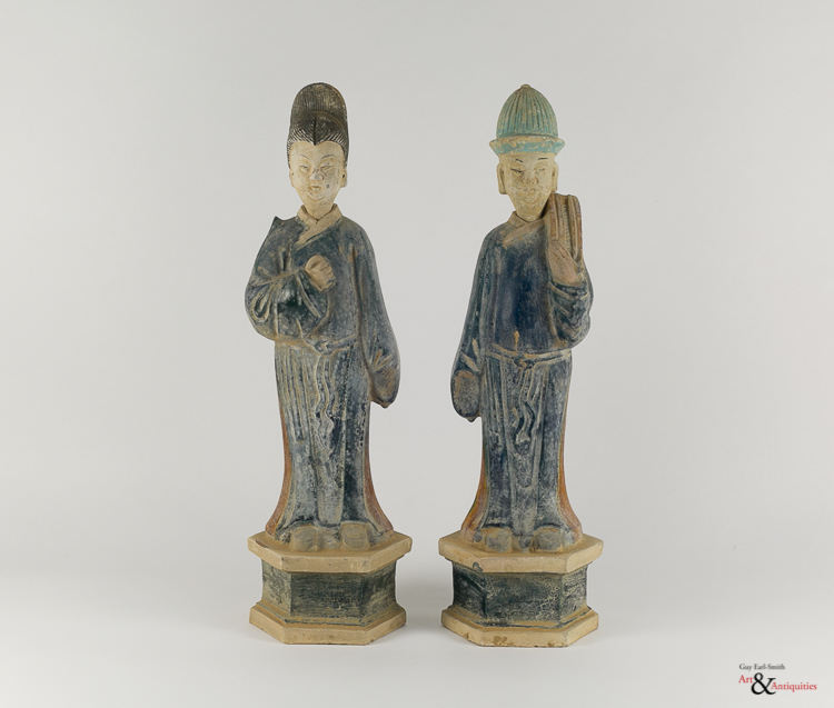 Two Glazed Ming Dynasty Pottery Sculptures,c. 1368-1645