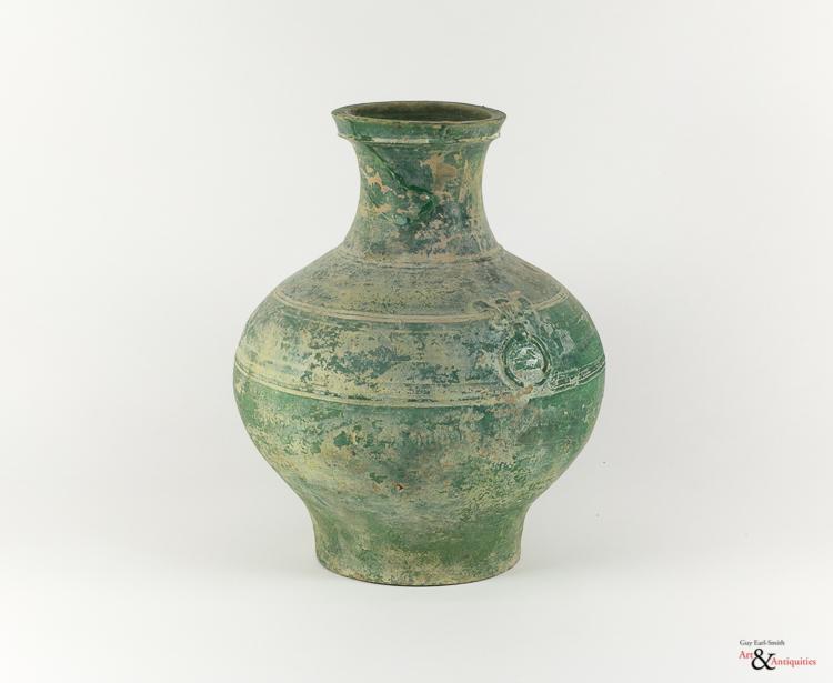 A Green Glazed Han Dynasty Pottery Jar (Hu), c. 206 BC - 220 AD