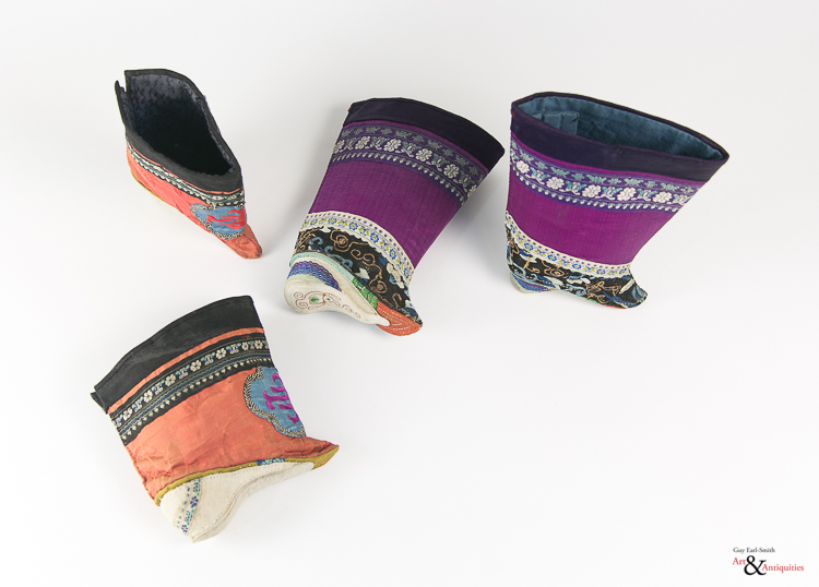 Two Pairs of Embroidered Silk Lotus Shoes,c. 19th/20th Century