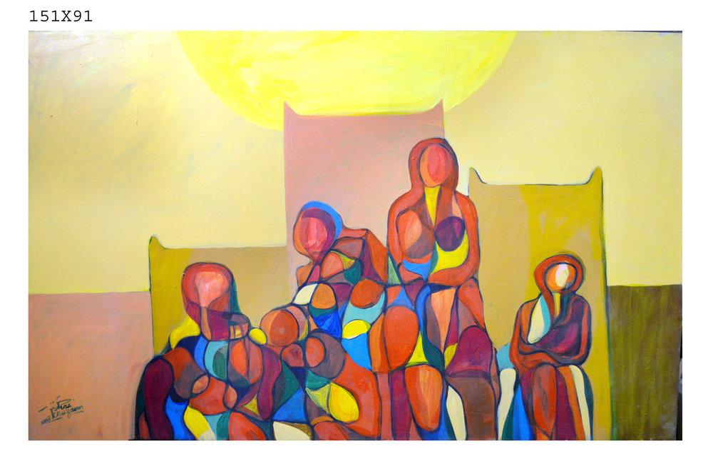 Lot 108: Othman Khuzaim - الفنان عثمان الخزيم (Saudi) 1955 -Mixed Media on Canvas, 2008,  Mixed Media on Canvas Est: $4,500 - $6,500