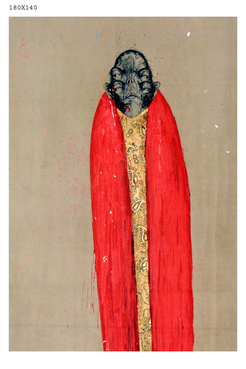 Lot 3: Sabhan Adam - الفنان سبهان آدم (Syria) 1973 -, Red Angel, 2007, Mixed Media On Canvas, 2007, 180x140cm Est: $4,000 - $6,000