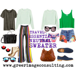 Raquel Greer Gordian expresses that a neutral sweater is another travel essential that can be a comfortable way to transition between day and night looks.