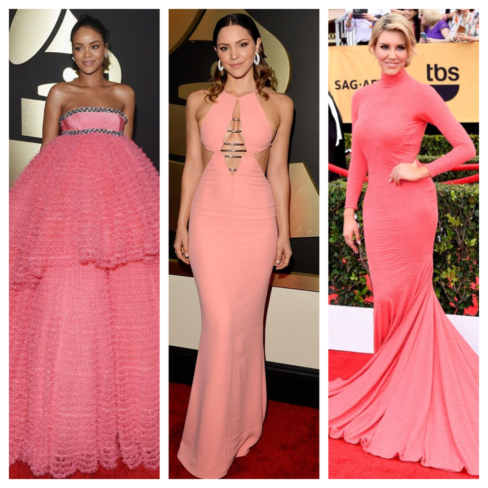Raquel Greer Gordian displays red carpet looks that embodied the pretty in pink trend.