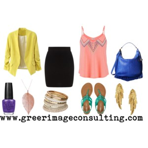 Raquel Greer Gordian exhibits a colorful brunch outfit that adds a bright blazer, embellished tank, and a vibrant sandal to balance out a black skirt.
