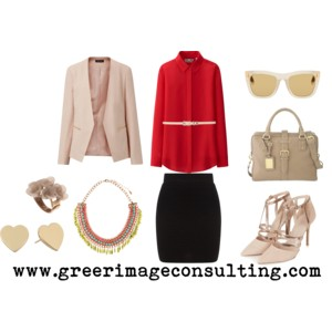 Raquel Greer Gordian exhibits an outfit that combines a silk blouse, waist belt, neutral blazer, and professional pumps with a must-have black skirt.