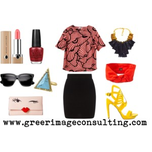 Raquel Greer Gordian exhibits an outfit that utilizes party pumps, a statement necklace, statement clutch, and a patterned top with the classic black skirt.