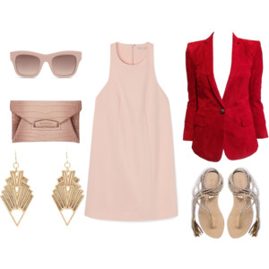 Emily Blanco exhibits an outfit inspired by the Pantone color Rose Quartz and the wildflower Plum Thistle. The outfit consists of a red blazer, pink shift dress, tassel sandals, statement earrings, and pink accessories.