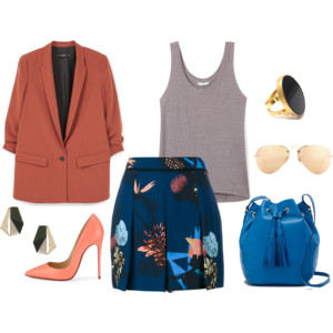 Emily Blanco displays an outfit inspired by the Pantone color Snorkel Blue and bluebonnets. The outfit consists of a rust-colored blazer, coral pumps, a printed miniskirt, a gray tank, a blue bucket bag, and gold accessories.