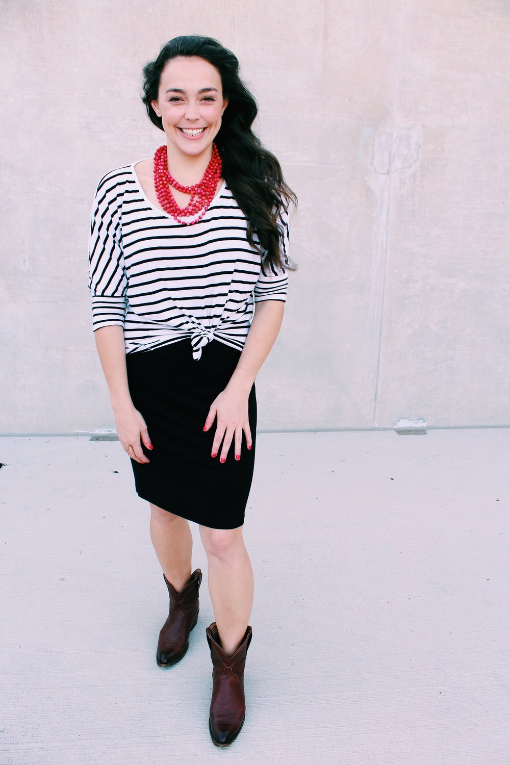 Greer Image Consulting - Blog - The Greer Guide to Style - Simple Styling Tricks - Styling Tricks - Black Boots - Red Necklace - Statement Fashion - Statement Necklace