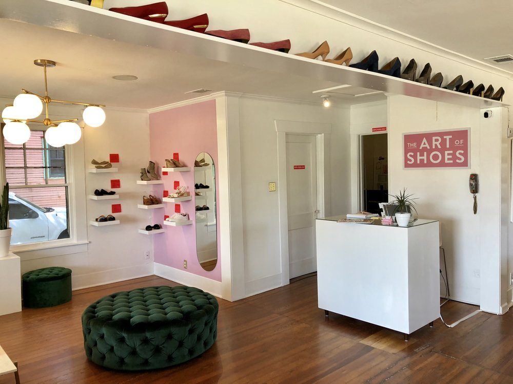 A shot of the interior of South Austin shoe shop, The Art of Shoes