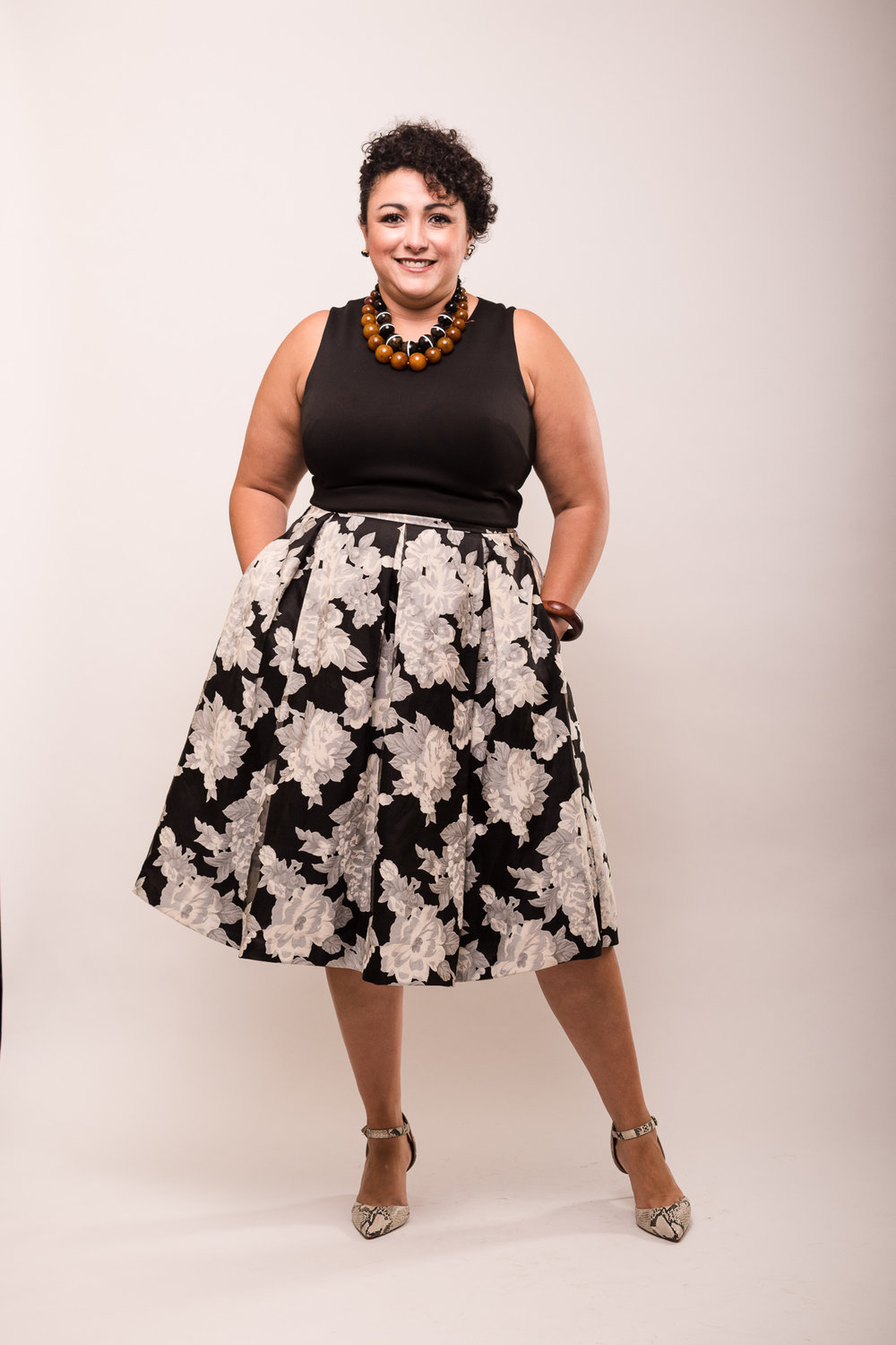 Gina is styled by Raquel Greer Gordian for a dressy casual occasion in Austin, Texas.