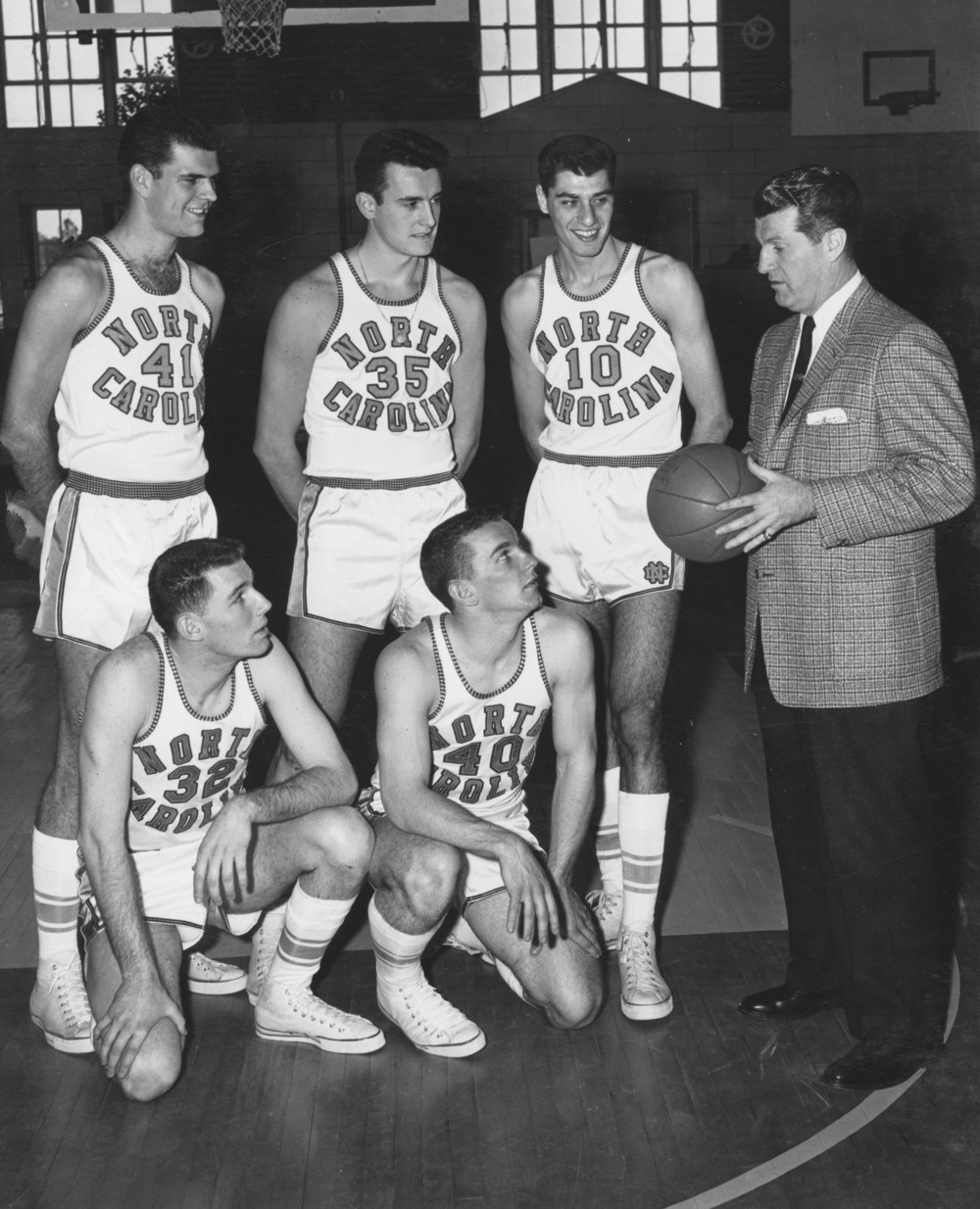 The 1957 Heels starting five were led by Lennie Rosenbluth (10) who scored 20 points in the championship game but fouled out before the end of regulation, and missed all three overtime periods.