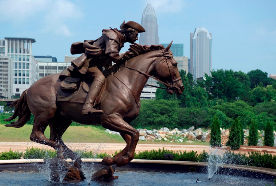 Statue of James Jack known as The Spirit of Mecklenburg Statue located along Charlotte's Trail of History