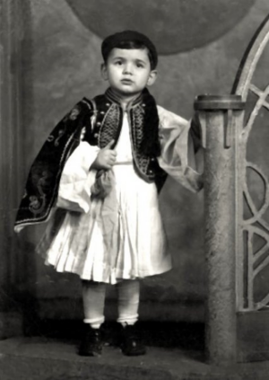 Zenos Frudakis at age five in traditional Greek  Evzone  costume.