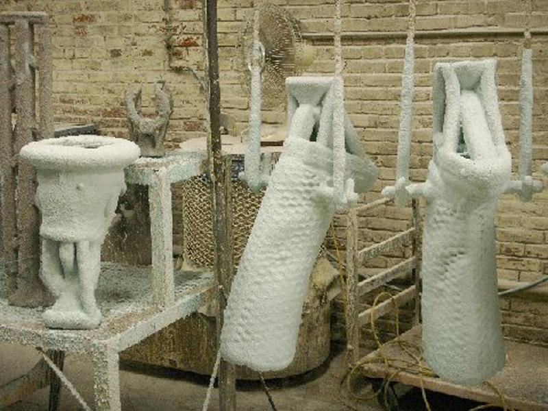 Ceramic molds are made on the wax models.
