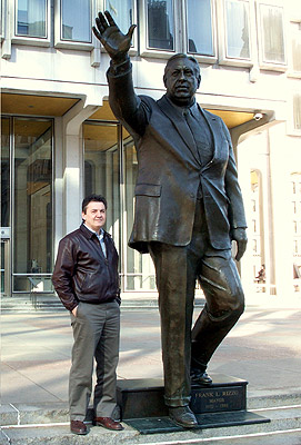 Sculptor Zenos Frudakis with his portrait statue of Philadelphia Mayor Frank L. Rizzo.