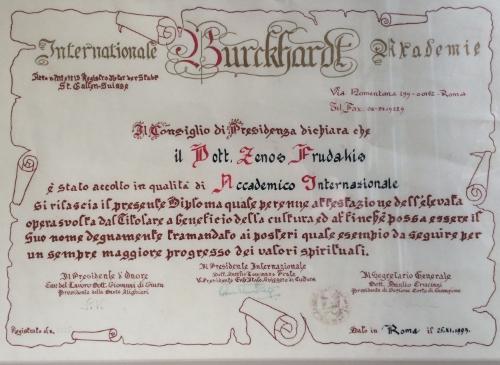 International Burckhardt Akademie, Accademia Internazionale per L'Unita della Cultura, Rome Italy, Academician