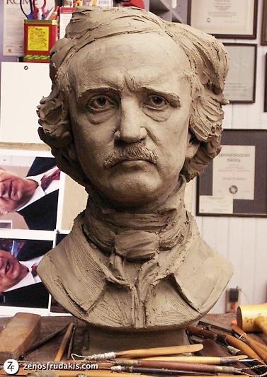 Edgar Allan Poe, portrait bust