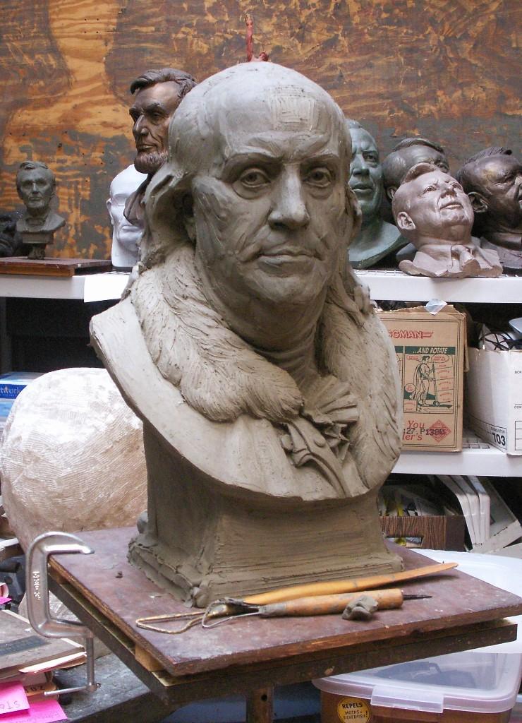 Benjamin Franklin, portrait bust