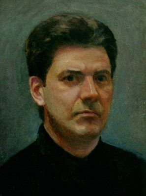 Zenos Frudkais, self portrait, painting
