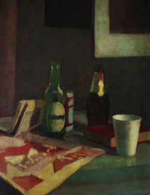 Still Life with Bottles, painting