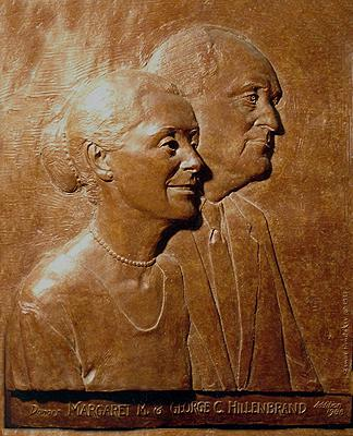 Mr. and Mrs. Hillenbrand, relief sculpture