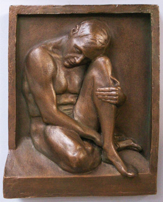 Man in a Box, relief sculpture