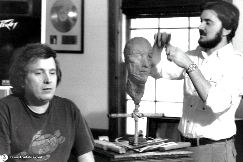 Zenos Frudakis sculpting singer/song writer Don McLean.