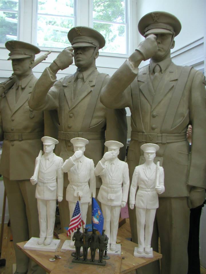 The Board approved the maquette, permitting Zenos to move forward with developing the 24-inch high Honor Guard figures in the round.     While the 24-inch model was in progress, the Board held discussions about the final size of the work. While the Air Force Memorial Foundation wanted the Honor Guard sculpture to measure 6 feet in height, or life-size, Zenos pointed out that space and light appear to shrink sculpture placed outdoors, significantly diminishing the impact of the pieces in the large Memorial.