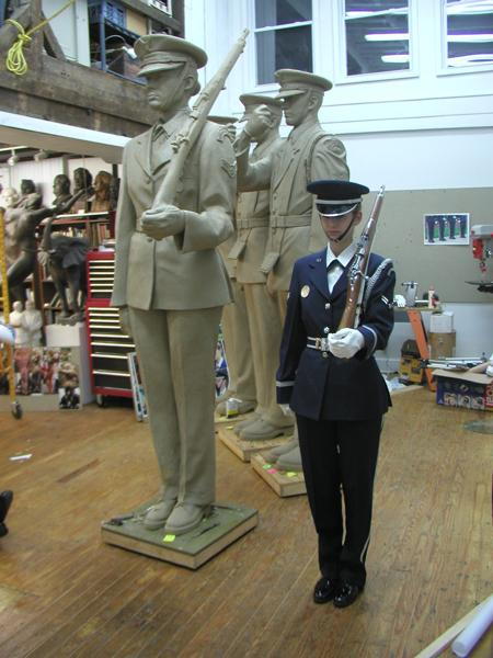 The Board approved this sketch-like approach to the sculpture. As members of the 11th Wings of Bolling Air Force Base's Air Force Honor Guard began their studio visits, the approach to the treatment of the sculpture changed radically. Reviewing the sculptures as they would fellow Airmen, the Honor Guard specialists politely noted lists of changes amounting to between and one and three pages of revisions to the sculpture per visit.