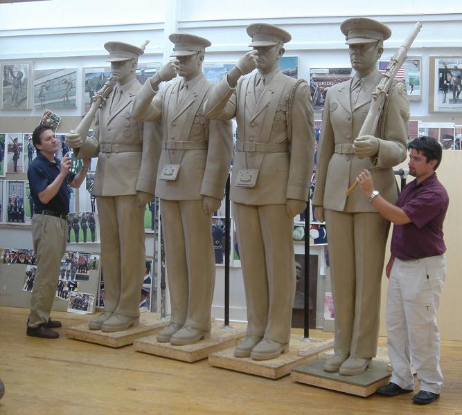 The sculptures became so detailed that upon what was hoped to be the final review and approval of the sculpture, the shoelaces of the sculptures were found to be crossed incorrectly. The shoelaces had to be re-sculpted to show the lead shoelace crossing from the airman's left to his/her right, and the sculptures required an additional review before final Board approval was granted.