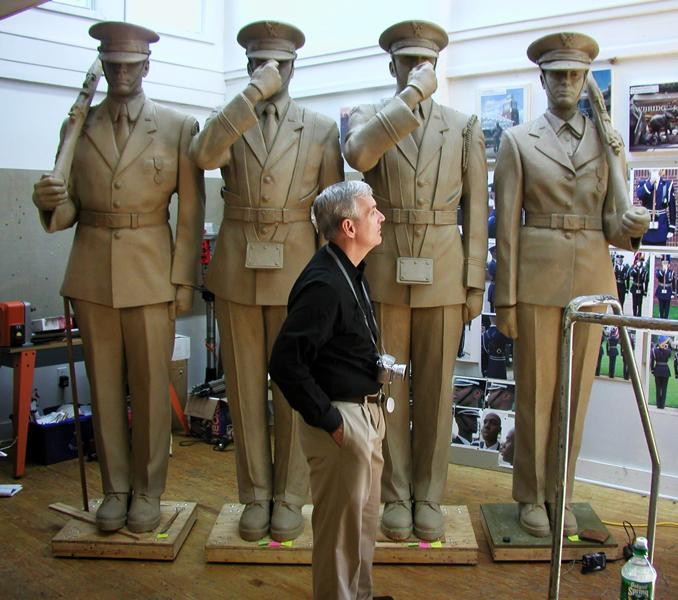 Recalling the women and the Hispanic and African-American men who participated in the Honor Guard ceremonies at Bolling, Zenos requested the Board's permission to make the Honor Guard sculpture reflect the diversity inherent in the U.S. military and the Honor Guard units he observed. The Board approved this recommendation immediately.