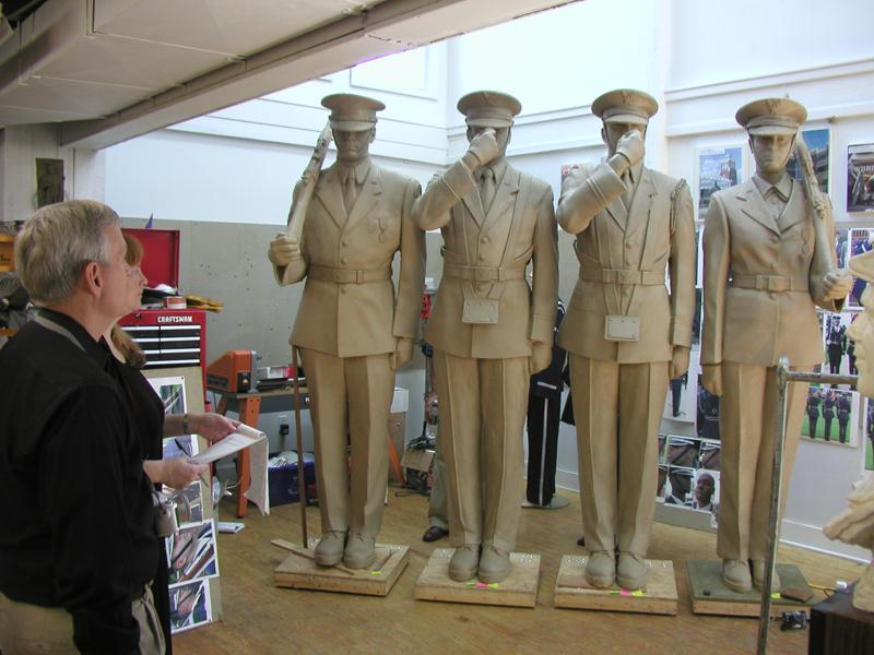 The Honor Guard sculpture for the Air Force Memorial is composed, from left to right, of one Caucasian man, one African-American man, one Hispanic man and one Caucasian woman. The sculptures of both the Caucasian man and the African-American man were created with the help of several models posing for each figure.