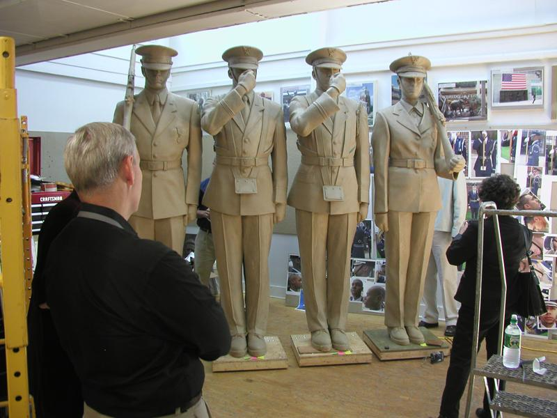 In 2004 and 2005, Aaron J. Sykes, who assisted on World War II Memorial sculptures, worked on the clay models with Zenos and Jennifer.