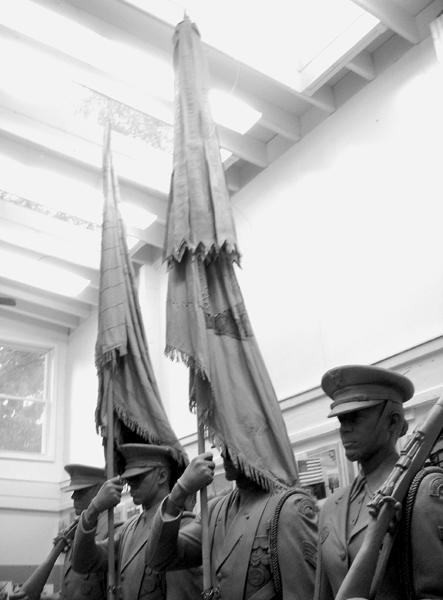 In 2005 and 2006, sculptor and painter Christopher Collins assisted with the flags and battle streamers.