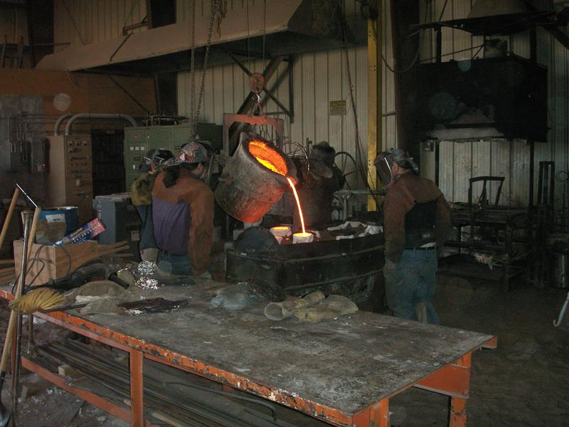 In the part of the process known as burn-out, the ceramic shell was placed in a kiln and fired.