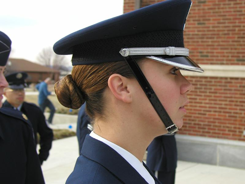 Model posing for the female Honor Guard face.