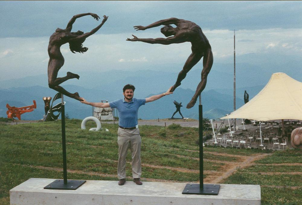 Reaching sculpture at Utsukushi-ga-hara Open Air Museum, Japan. Artist Zenos Frudakis.
