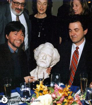 Ken Burns with  Mark Twain , half-round bust award presented at the Lotos Club.