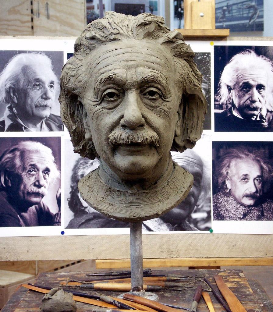 Albert Einstein portrait sculpture