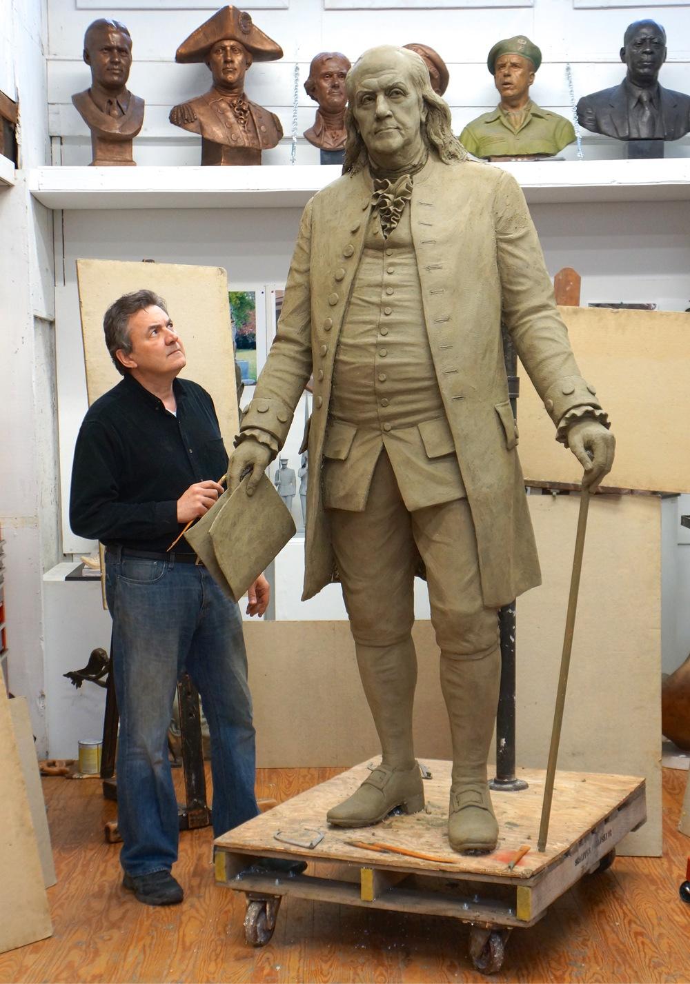 Benjamin Franklin, portrait statue