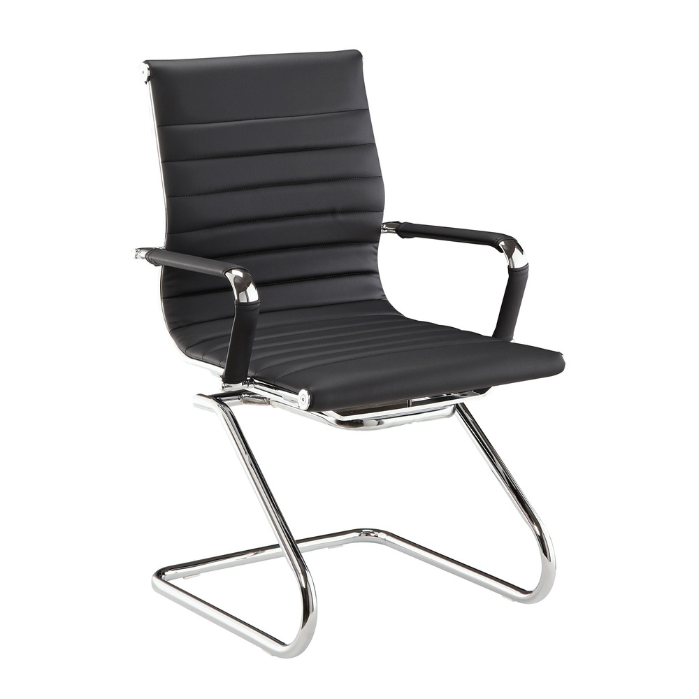 Bon DMI Pantera Metal U0026 Leather Guest Chair In Black