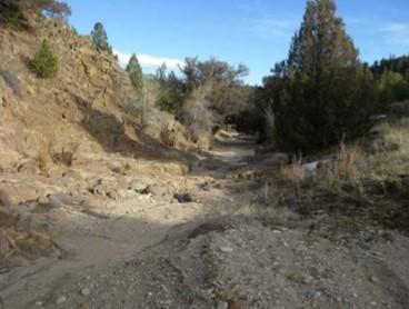Hecla - Exposed Bedrock after the Debris Flow Event