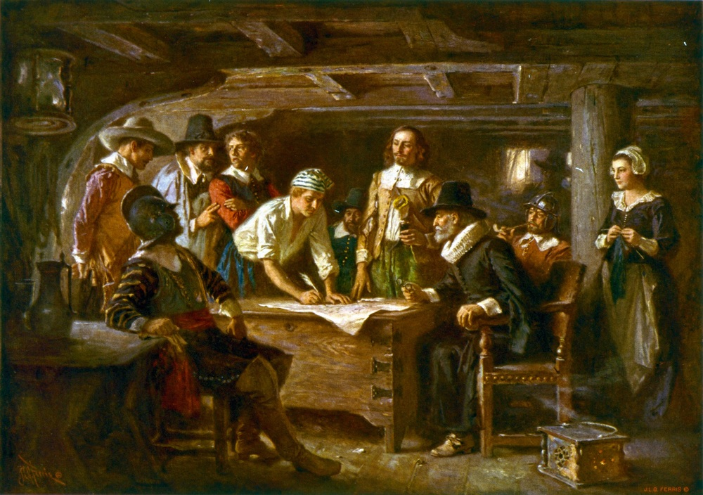 Signing the Mayflower Compact 1620, by Jean Leon Gerome Ferris (1899)