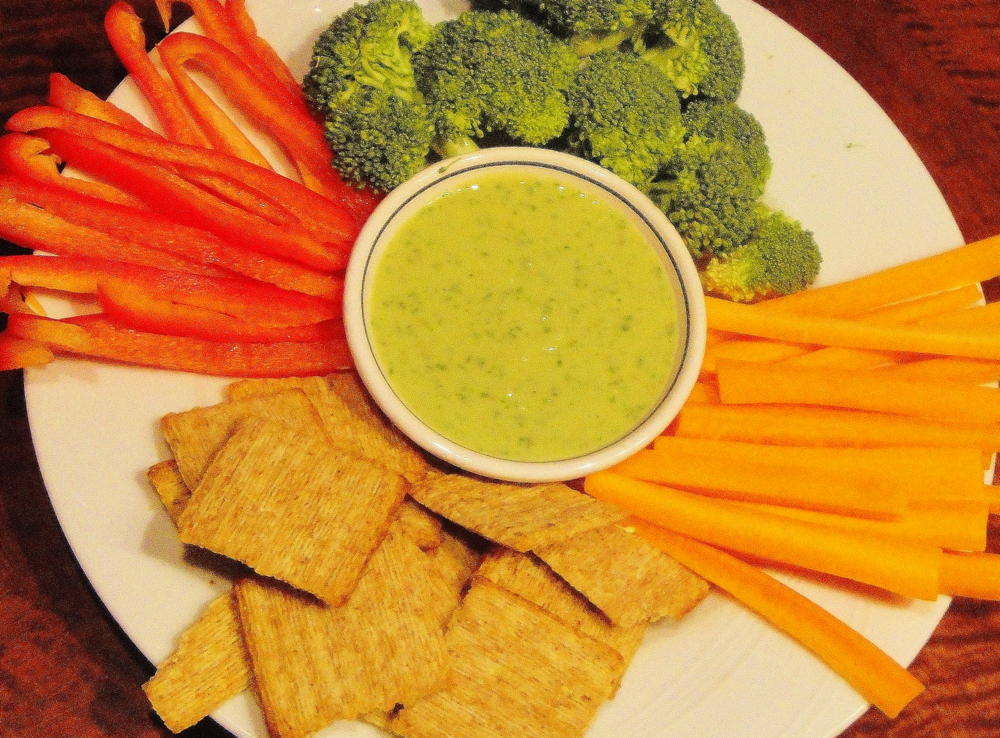 Deb's Mediterranean Dip with veggies and crackers